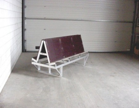 Glasshouse glass storage rack with plywood back