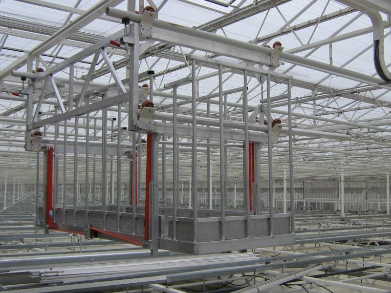 Electrische monorail wagen voor onderhoud en gewasinspectie kas transport