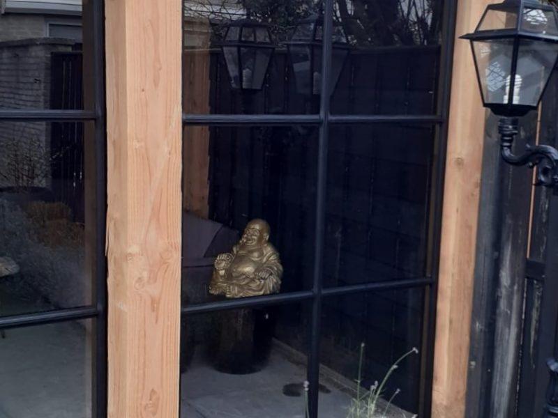 Aluminium schuifdeuren houten veranda staallook antraciet zwart (5)