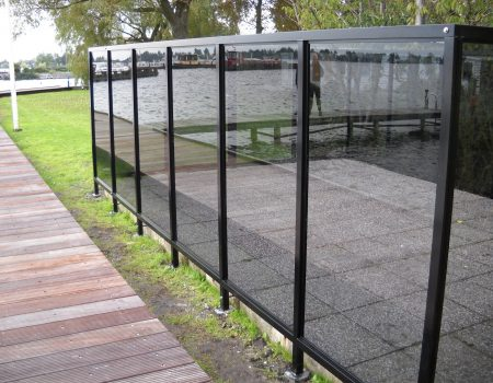 Batist terrasscherm antraciet
