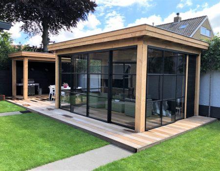 Staallook aluminium pui antraciet voor houten veranda industrieel (1)