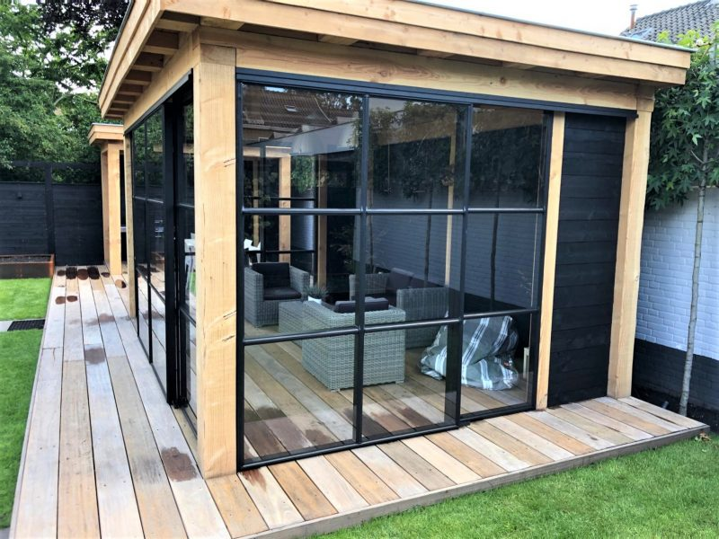 Staallook aluminium pui antraciet voor houten veranda industrieel (3)