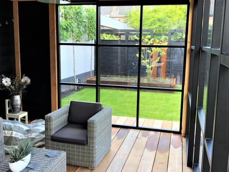 Staallook aluminium pui antraciet voor houten veranda industrieel (4)